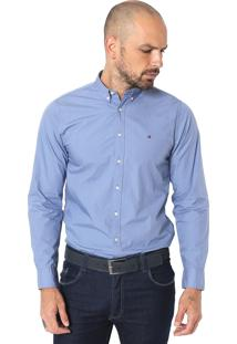Camisa Tommy Hilfiger Reta Lisa Azul