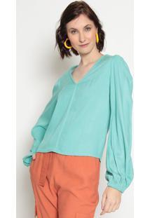 Blusa Texturizada Com Franzidos- Verde ÁGuala Chocolãª
