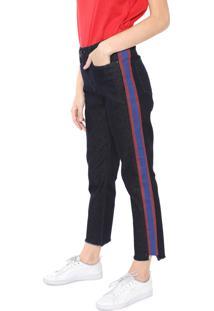 Calça Jeans Calvin Klein Jeans Reta Listras Azul