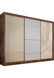 Guarda-Roupa Casal Com Espelho 3 Portas E 6 Gavetas Natus Gold -Novo Horizonte - Canela / Off White