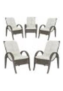 Cadeiras 5Un P/ Jardim Lazer Edicula Varanda Descanso Fibra E Tramas Napoli Plus Pedra Ferro A34