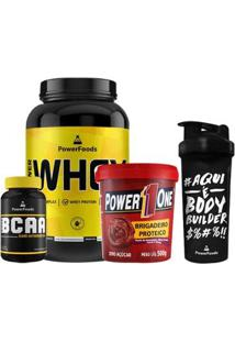 Kit Power Whey Pote 907G + Powerbcaa 120 Cáps + Brigadeiro Proteico + Coqueteleira 700Ml - Unissex