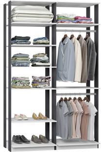 Closet 2 Cabideiros 7 Prateleiras 9010 Branco/Espresso - Bentec