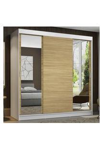 Guarda-Roupa Casal Madesa Reno 3 Portas De Correr Com Espelhos - Branco/Carvalho Marrom