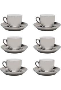 Jogo 6 Xícaras De Café Com Pires Wolff Porcelana 90Ml Prata/Branco