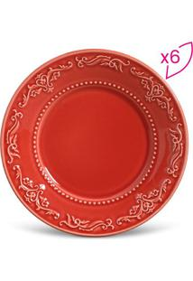 Jogo De Pratos Para Sobremesa Acanthus- Vermelho- 6Pporto Brasil