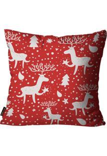 Capa Para Almofada Mdecore Natal Renas Vermelha 45X45Cm