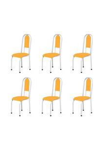 Kit 6 Cadeiras Anatômicas 0.122 Estofada Branco/Laranja - Marcheli