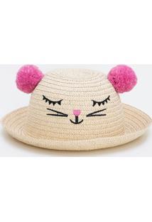 Chapéu De Palha Infantil Com Pompom - Tam U