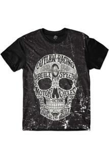 Camiseta Bsc Motoqueiros Caveira Motor Sublimada Masculina - Masculino-Preto