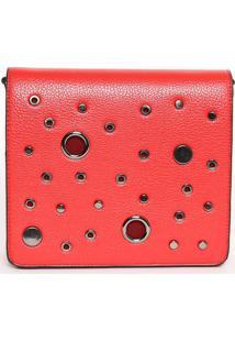Bolsa Transversal Com Ilhoses- Vermelha- 18X20,5X5Cmfedra