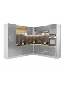 Cozinha Completa De Canto Madesa Lux Com Armário E Balcão Branco/Cinza Branco