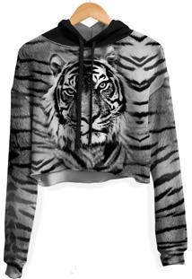 Blusa Cropped Moletom Feminina Over Fame Tigre Md03 - Branco - Feminino - Poliã©Ster - Dafiti