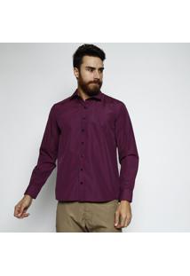 Camisa Slim Fit Xadrez Com Bordado & Botões- Azul Marinhvip Reserva