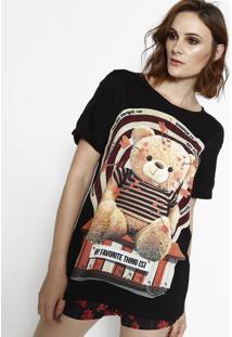 Camiseta De Urso Com Termocolantes - Preta & Vermelha