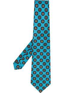 Kiton Gravata Com Estampa Geométrica - Azul