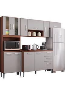 Cozinha Compacta 8 Portas Com Balcão Lavínia Capucino/Off White - Poqu