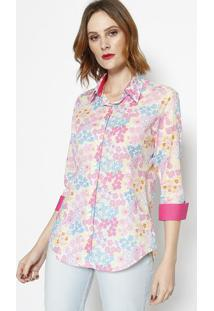 Camisa Floral- Rosa & Azul- Dbz Jeansdbz Jeans