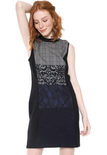 Vestido Desigual Curto Fernie Preto/Cinza