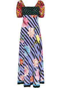 Rixo Vestido Longo Anastasia Com Mix De Estampas - Azul