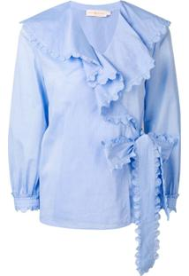 Tory Burch Blusa Com Detalhe De Babados - Azul