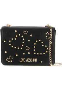 Love Moschino Studded Heart Crossbody Bag - Preto