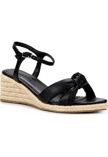 Sandália Anabela Shoestock Couro Corda Feminina - Feminino-Preto