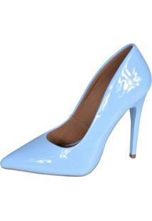 Scarpin Eagle Black Fashion Alto Feminino - Feminino-Azul