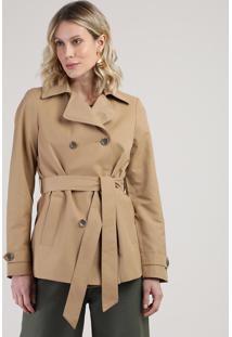 Casaco Trench Coat Feminino Transpassado Com Faixa Para Amarrar Caramelo