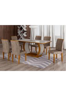 Conjunto De Mesa De Jantar Com 6 Cadeiras Maia Iii Suede Animalle Imbuia E Chocolate