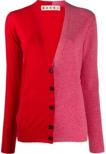 Marni Cardigan De Lã Bicolor - Vermelho