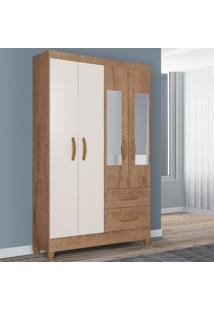 Guarda-Roupa Solteiro Real 4 Portas 2 Gavetas Com Espelho Canelato Rústico/Natura Off White - Atualle Móveis