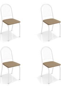 Conjunto Com 4 Cadeiras De Cozinha Noruega Branco E Capuccino