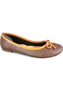 Sapatilha Bico Redondo Sapatoweb Laço Feminina - Feminino-Bronze