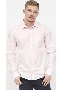 Camisa Slim Com Bolso - Rosa Claro - Colccicolcci