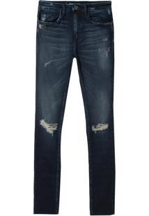 Calça John John High Skinny Long Suíça Jeans Azul Feminina (Jeans Escuro, 40)
