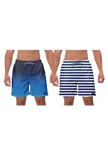 Kit 2 Shorts Moda Praia Azul Branco Listras Ajustável Casual Banho Surf Caminhada W2