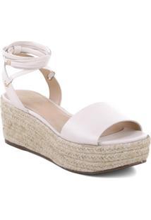 Sandália Plataforma Em Couro- Off White & Bege Claroarezzo & Co.