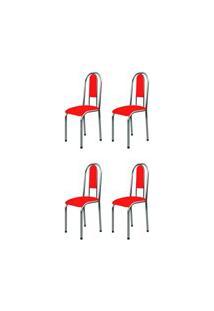 Kit 4 Cadeiras Anatômicas 0.122 Estofada Cromado/Vermelho - Marcheli