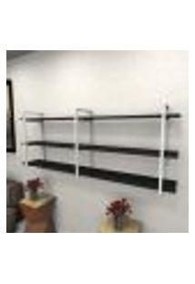 Estante Estilo Industrial Sala Aço Cor Branco 180X30X68Cm (C)X(L)X(A) Cor Mdf Preto Modelo Ind33Psl