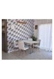 Conjunto De Mesa Dobrável Retrátil 1,40 Branco/Noronha Inox + 4 Cadeiras Gomos - Branca