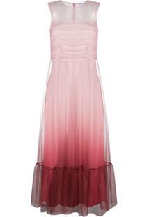 Redvalentino Vestido Degradê Com Peplum Na Barra - Rosa