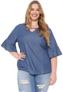 Blusa Jeans Cativa Plus Babados Azul