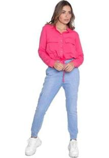 Camisa Le Julie Cropped Manga Longa Feminina - Feminino-Pink