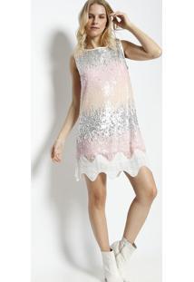 634fe1c2a5 ... Vestido Em Paetê- Prateado   Rosa Claro- Susan Zhengsusan Zheng