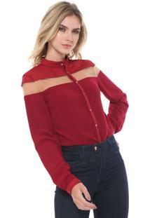 Camisa Suede Forum Acinturada Vermelha