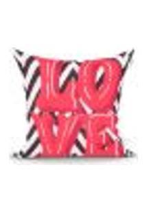 Capa De Almofada Love Vermelha E Preta Estampada 45Cm X 45Cm Com Zíper