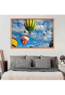 Quadro Love Decor Com Moldura Balloons In The Sky Rose Metalizado Grande