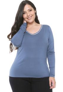 Blusa Lunender Mais Mulher Plus Aplicações Azul