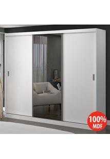 Guarda Roupa 3 Portas De Correr Com 1 Espelho 100% Mdf 1902E1 Branco - Foscarini